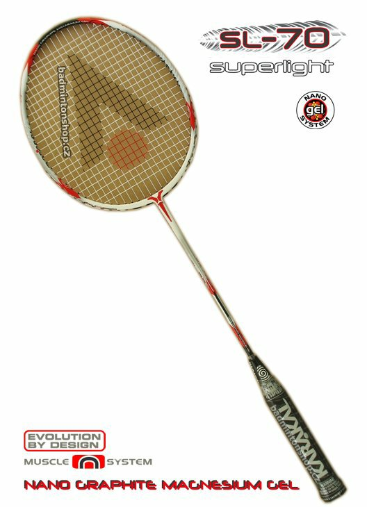 badmintonová raketa KARAKAL SL-70 GEL WHITE/RED