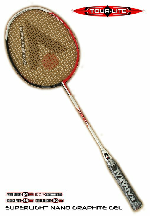 badmintonová raketa KARAKAL TOUR LITE GEL BLACK/RED